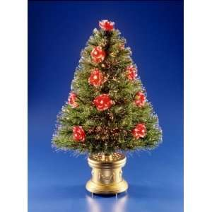 National Tree Company SZRS7 100 36 36 Inch Fiber Optic Red Rose Tree
