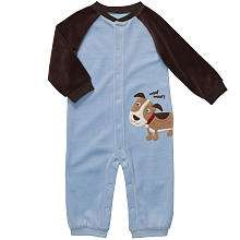 Carters Boys Velour Raglan Jumpsuit with Puppy   Blue/Brown (Newborn