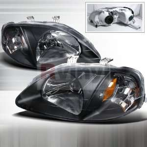 Honda Civic 1999 2000 Euro Headlights   Black Automotive