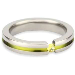 Womens Grey Titanium Round Cut Yellow Sapphire Ring with