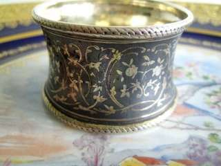 Antique French Russian Sterling Niello Napkin Ring