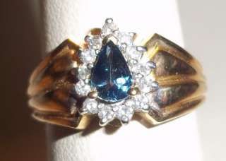 estate 14k yellow gold pear blue sapphire & diamond ring 53/4
