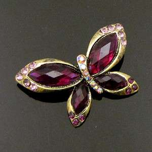 SHIPPING 1pc antiqued rhinestone crystal butterfly brooch pin