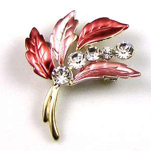 Item  1 pc rhinestone crystal leaf brooch pin