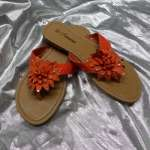 Nice Womens Blue Flowers Flip Flops Flat Shoes Valinda 11 Orange All
