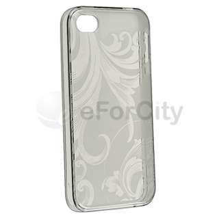 Clear Smoke Flower TPU Rubber Skin Soft Gel Case Cover for iPhone 4 G