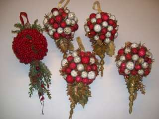 Red Berry Pine Cones Kissing Ball Christmas Ornament #5