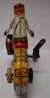 VINTAGE MAR MARX TOYS NEW YORK US TIN WIND UP MOTORCYCLE TOY