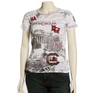 Carolina Gamecocks Womens White Rhinestone T shirt