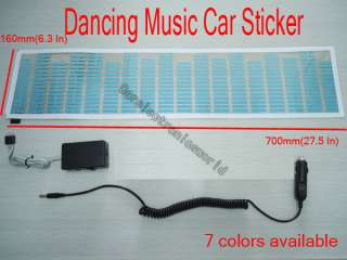 35 Car Stickers Sound music Activated Sensor Blue LED Light Equalizer