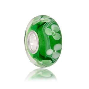 Bling Jewelry Green Clover Flower Murano Glass Bead Pandora Compatible