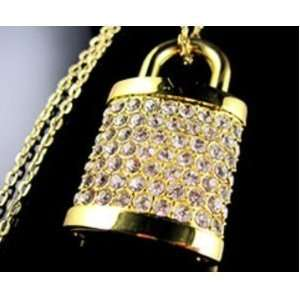 4 Gb lock Shape Crystal Jewelry USB Flash Drive Necklace