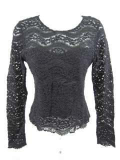 HANKY PANKY Black Lace Long Sleeve Shirt Top Size Small