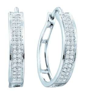 WHITE GOLD FINISH LADIES DIAMOND FASHION HOOPS EARRINGS