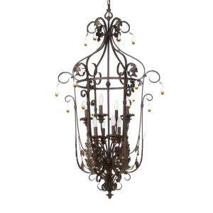 Hampton Bay Cristobal Collection Royal Mahogany 8 Light Foyer Pendant
