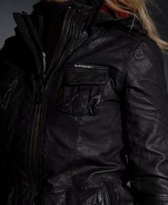 New Womens Superdry L65 Leather Jacket BD436/5200