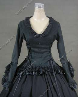 Victorian Gothic Lolita Brocade Satin Cotton Dress Ball Gown Prom C001