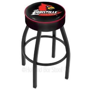 Louisville Cardinals Logo Black Wrinkle Swivel Bar Stool Base with 4