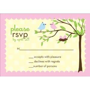 Bird Tree Egg Girl Twins Baby Shower Reply Cards