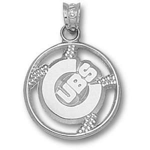 Chicago Cubs MLB C  Pierced Baseball Pendant (Silver)