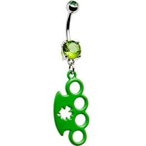 Green Clover Brass Knuckle Belly Ring Jewelry