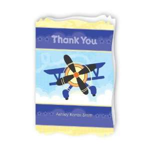 Airplane   Personalized Baby Thank You Cards With Squiggle