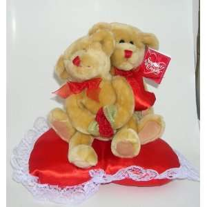 Tall Snuggly & Cuddly Teddy Bear Pair on Heart Pillow Toys & Games