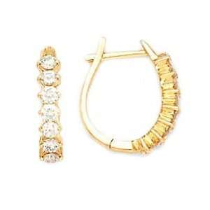 14k Yellow Gold & Diamond Oval Drop Hoop Earrings (0.70ctw) Jewelry
