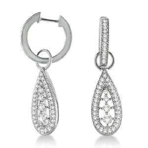 Antique Dangle Drop Teardrop Diamond Earrings 14k White