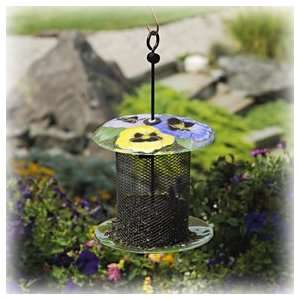 Bird Brain NinArt Glass & Mesh Bird Feeder Geranium Patio