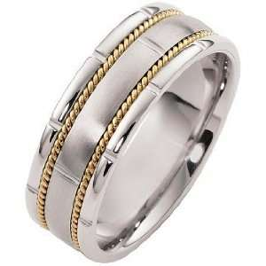 5mm 14 Karat Two Tone Gold Rope Style Wedding Band   9.25 Jewelry