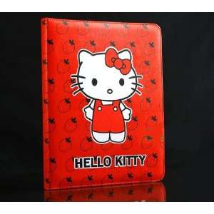 Hello kitty red cute style leather case bag for iPad 2