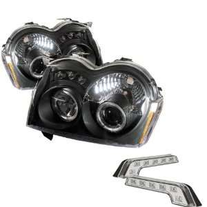 Jeep Grand LED Cherokee Halo LED Black Projector Headlights and LED