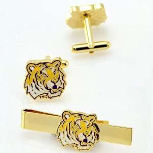 NCAA LSU Tigers Gold plated Team Logo Tie Clip & Cufflinks Set