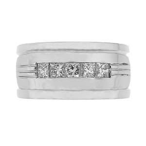 Mens Diamond Ring   Mens Five Diamond Wedding Band in 18k White Gold