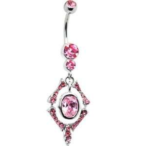 Passion Pink Gem Oval Chandelier Drop Belly Ring Jewelry