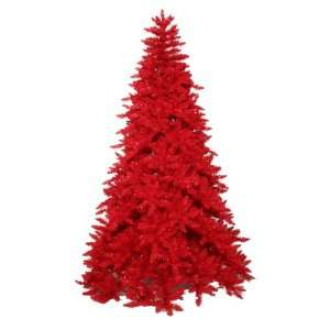 10 Pre Lit Red Ashley Spruce Artificial Full Christmas Tree
