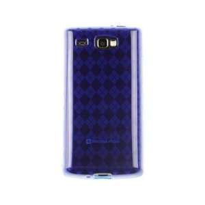 Phone Protector Cover Case Dark Blue Checkered For Samsung Focus Flash