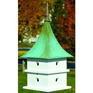 Landing Bird Houses, White, Verdigris Roof 149 Patio, Lawn & Garden