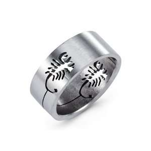 Mens Solid Stainless Steel Band Cutout Scorpion Ring Jewelry