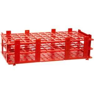 4340062 16mm 55 Tubes Red Polypropylene Test Tube Rack, 5 x 11 Tube