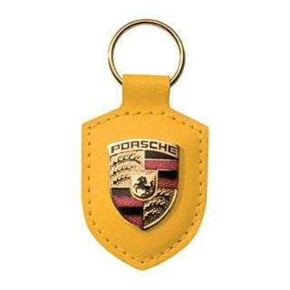 Porsche Crest Red Leather Key Chain Automotive