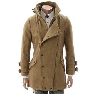 Doublju Mens Casual Double Zip Wool Half Coat (GA03)