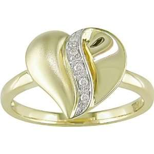 Diamond Accent Heart Ring in 10k Yellow Gold Jewelry