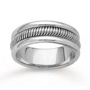 14k White Gold Charming Beauty Hand Carved Wedding Band Jewelry