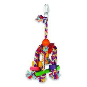 Pet Fiesta Medium Cotton Rope and Wood Bird Toy 10 in
