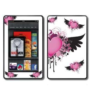 com  Kindle Fire Skins Kit   Pink Hearts with Wings Angel Wings
