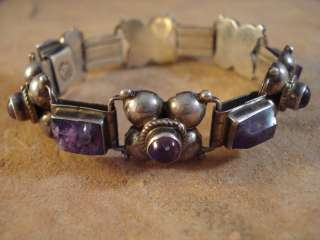 Vintage Mexico Mexican Sterling Silver & Amethyst Bracelet