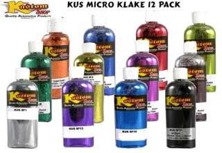 12 1oz Micro Metal FLAKE COLORS Auto Car Paint Airbrush