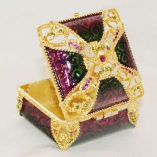 Vintage Phone Rhinestone Crystal Trinket Jewelry Box